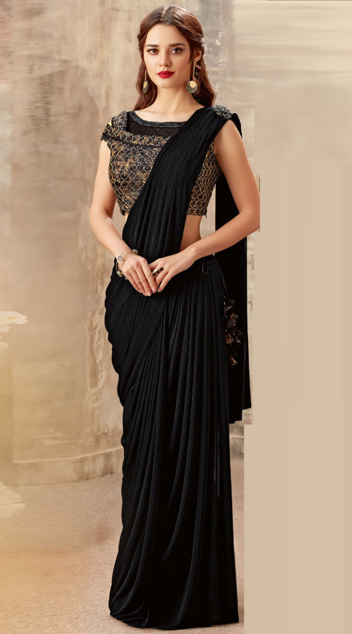 Lycra Sequins work Black Ready to wear designer saree MS501755