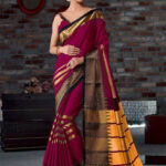 Magenta Color cotton Silk With Waving South Indian Saree