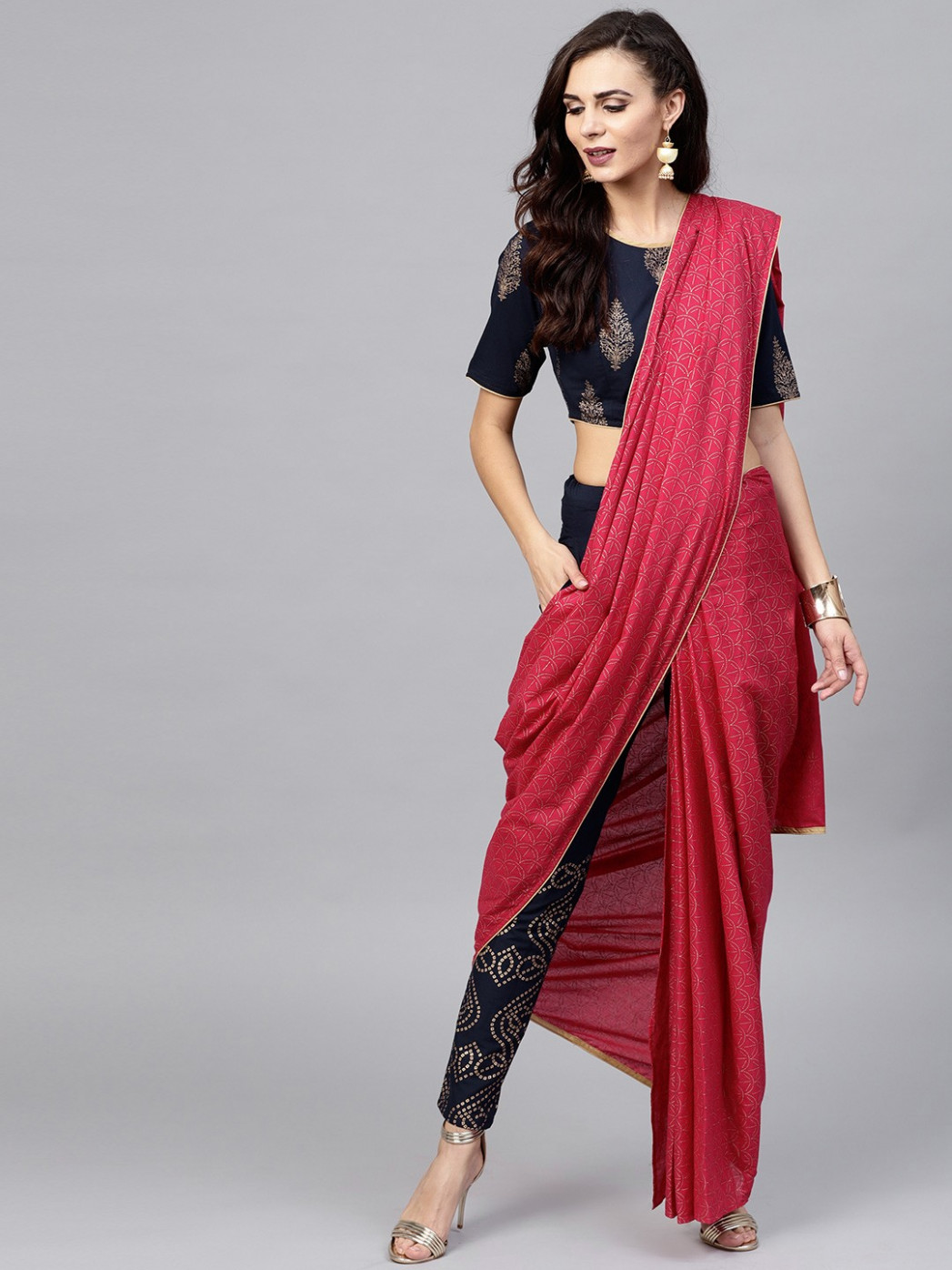 Magenta Gold Printed Pant Saree With Blouse