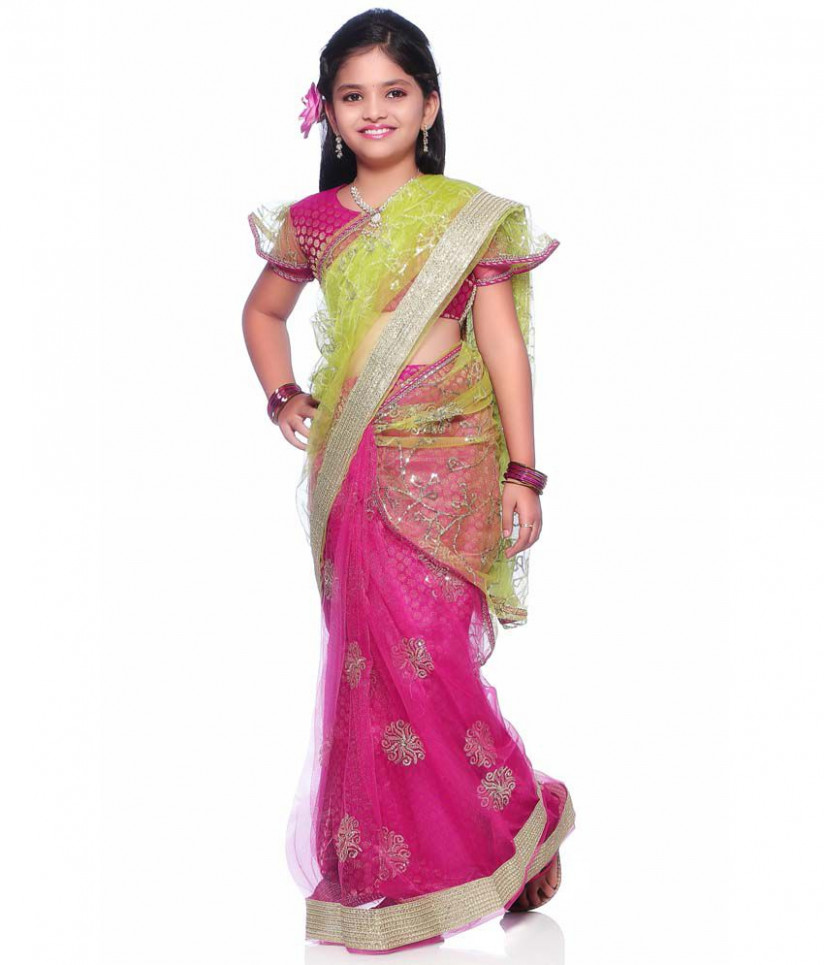 Magenta Net Readymade Saree with Blouse - Buy Magenta Net