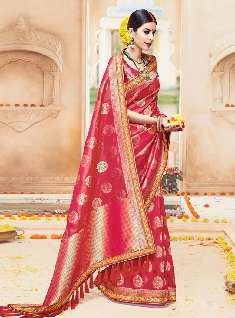 Magenta Silk Engagement Wear Saree 89668