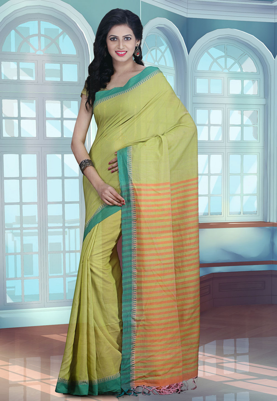 Maheshwari Cotton Handloom Saree in Pastel Green : SHXA901