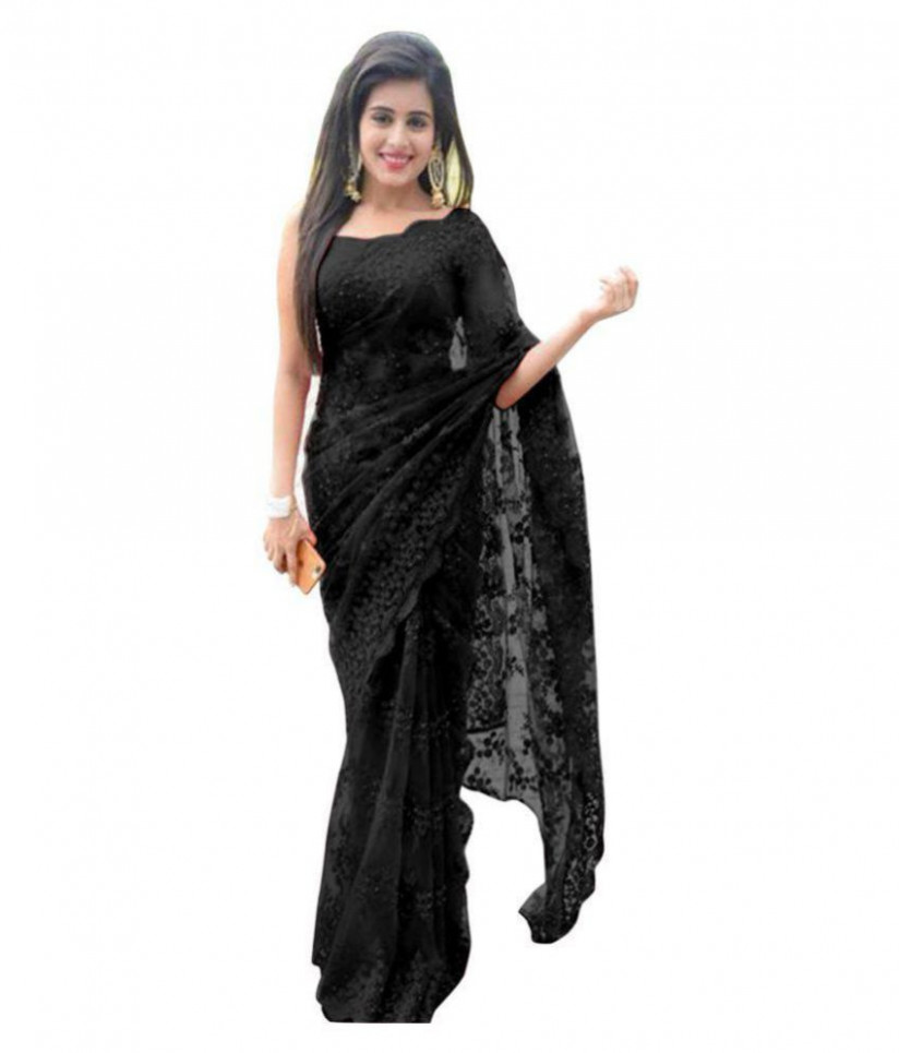 Manjula Feb Black Net Saree - Buy Manjula Feb Black Net