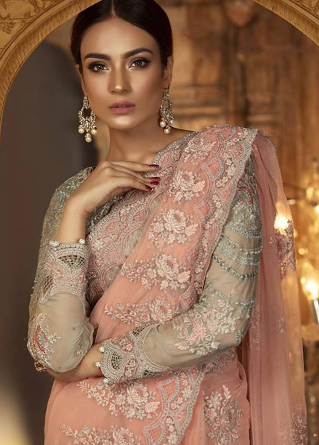 Maria B Embroidered Chiffon Unstitched Saree MB18-E2 04