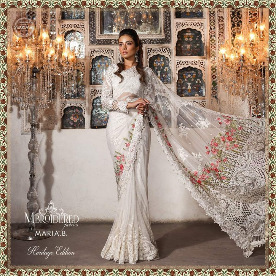 Maria B White Saree Replica - Heritage 2019 - Replicas Planet
