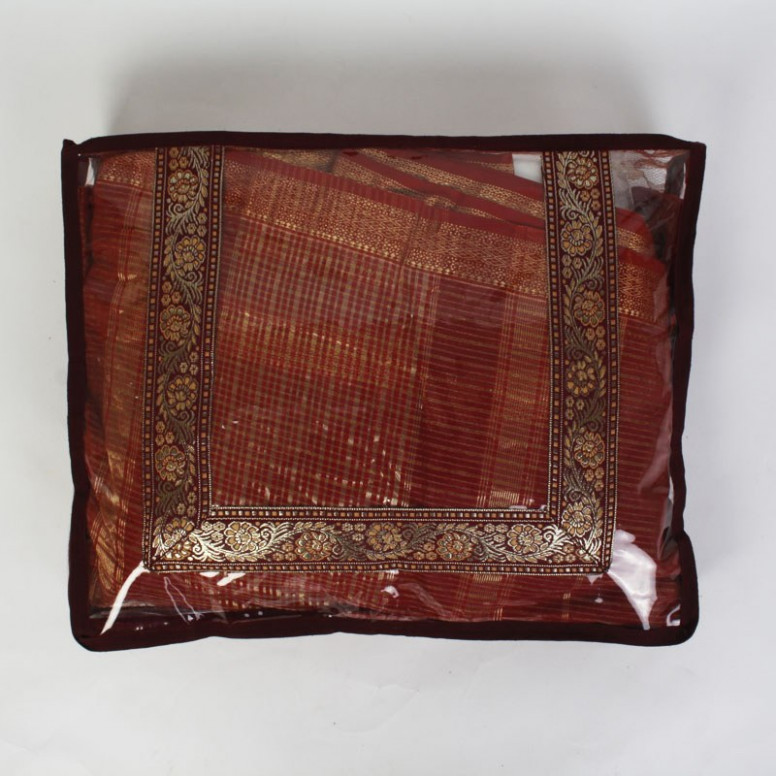 Maroon & Gold Saree Cover-Online Shopping-