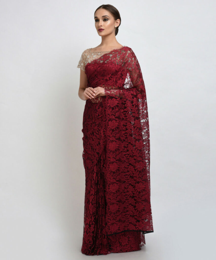 Maroon-Black French Chantilly Lace Saree With Pearl Beaded