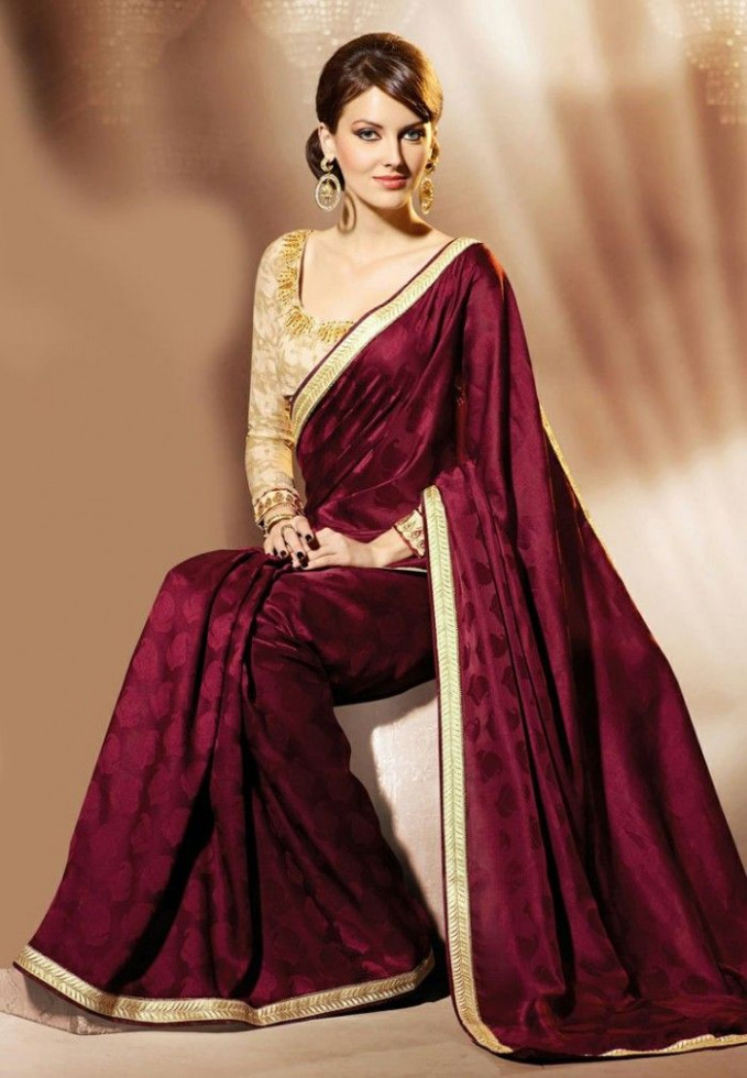 Maroon colour satin jacquard saree with gold border and