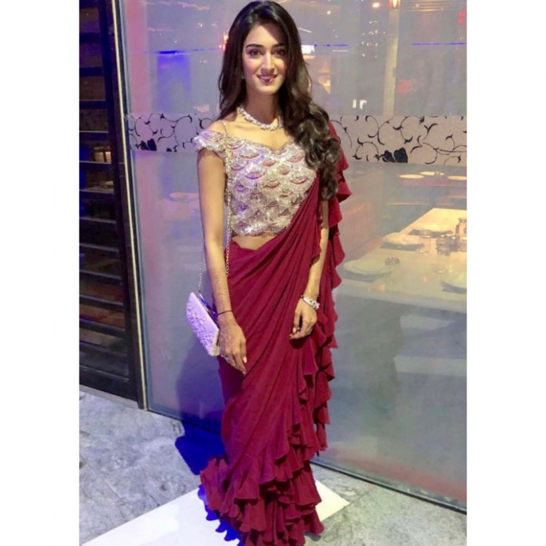 maroon georgette designer ruffle saree with sequence work
