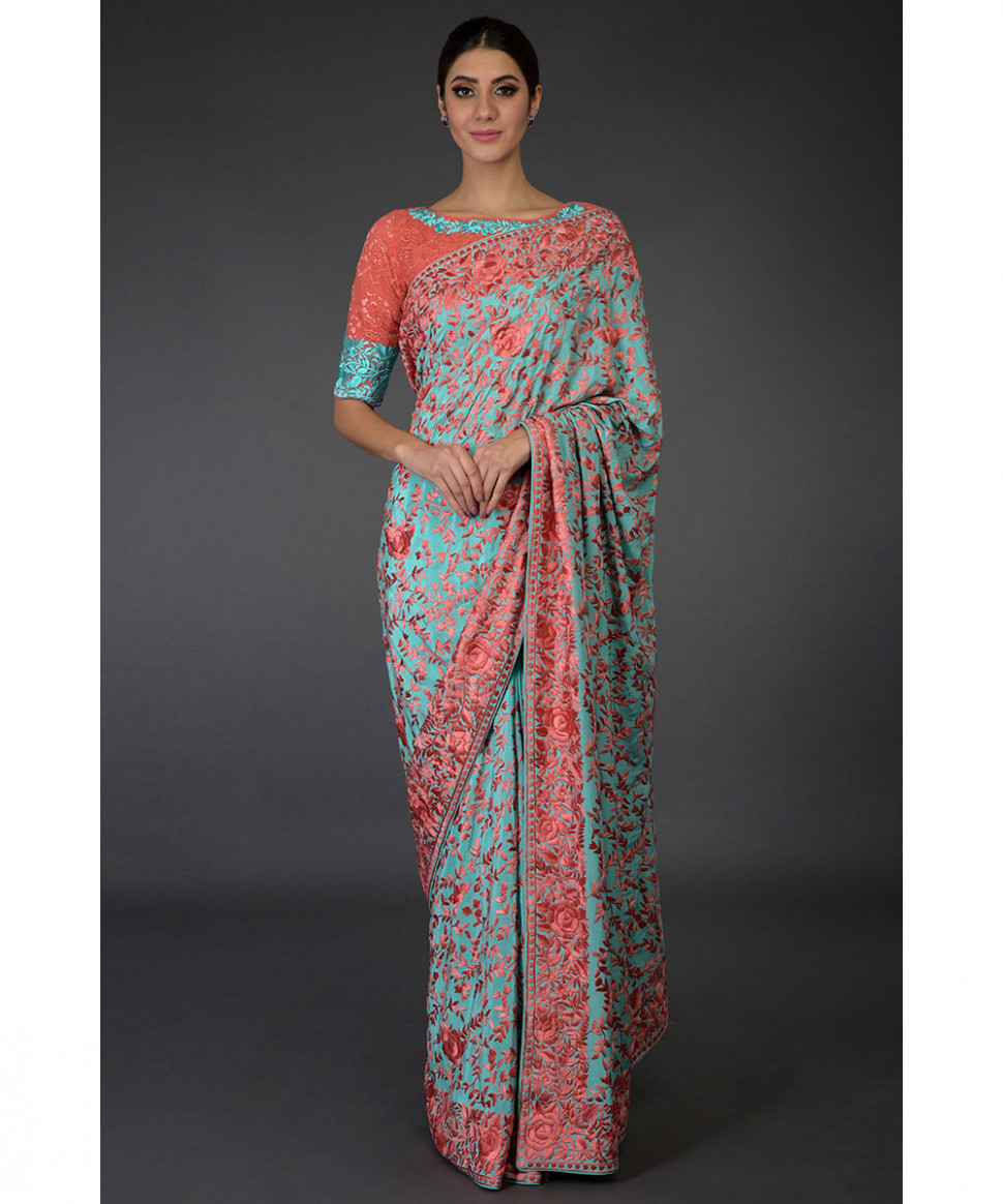 Masterpiece Aqua Parsi Gara Saree ( With Two Blouses)