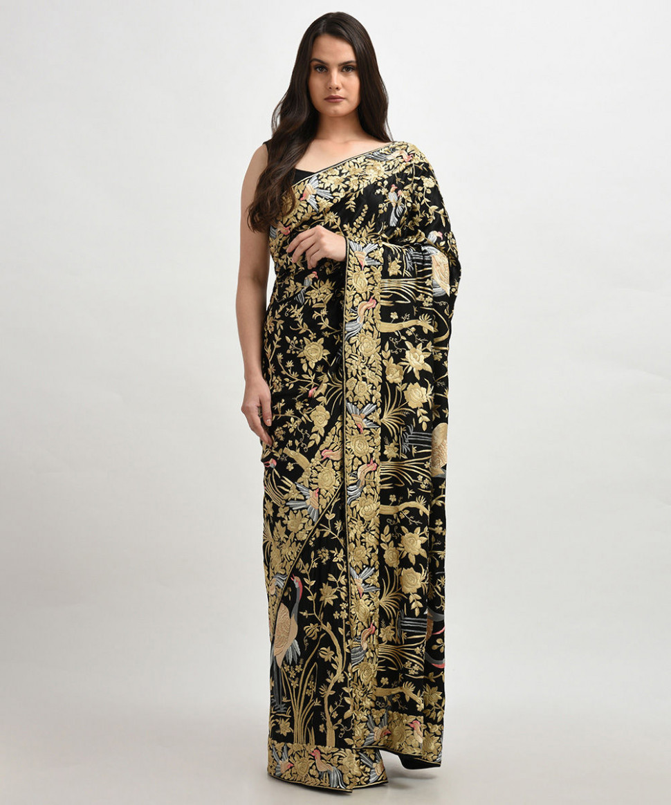 Masterpiece Black-Beige Hand Embroidered Parsi Gara Saree