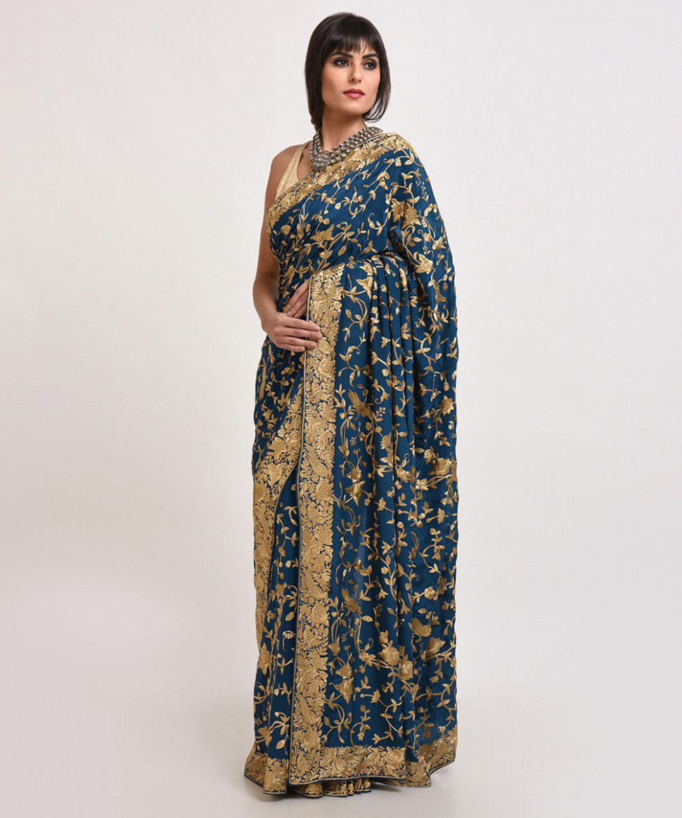 Masterpiece Prussian Blue-Beige Hand Embroidered Parsi