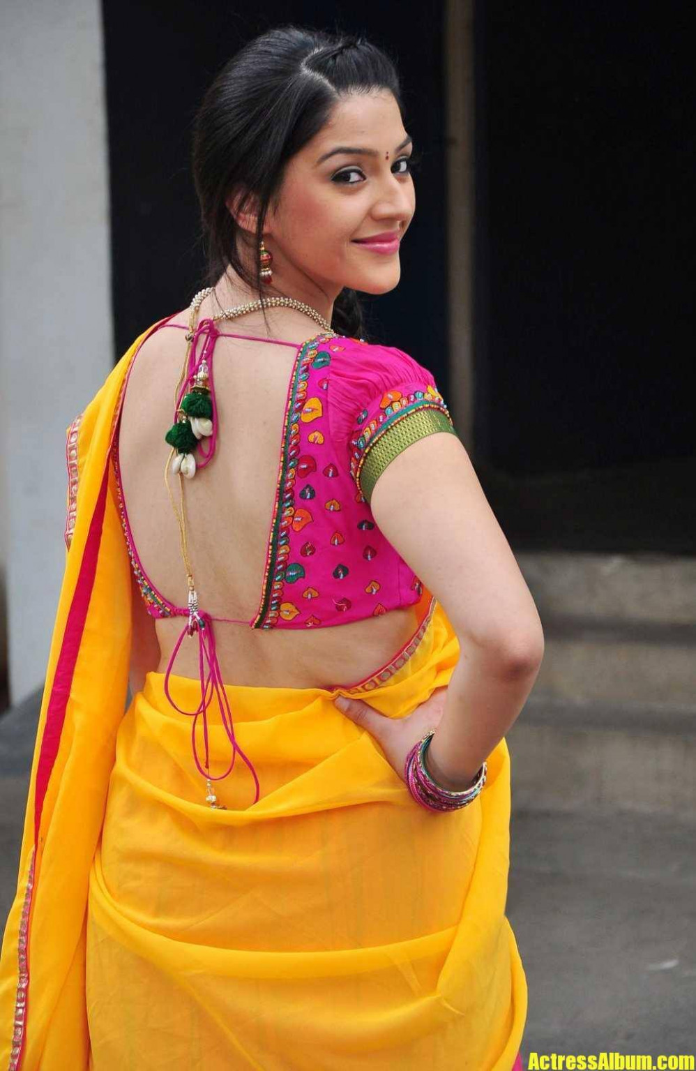MEHRENE IN HALF SAREE WITH BACKLESS BLOUSE - Actress Album