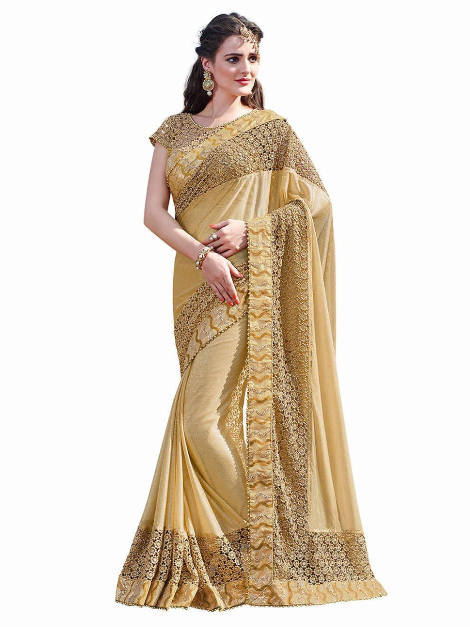 Melluha Designer gold saree with lycra and net with heavy