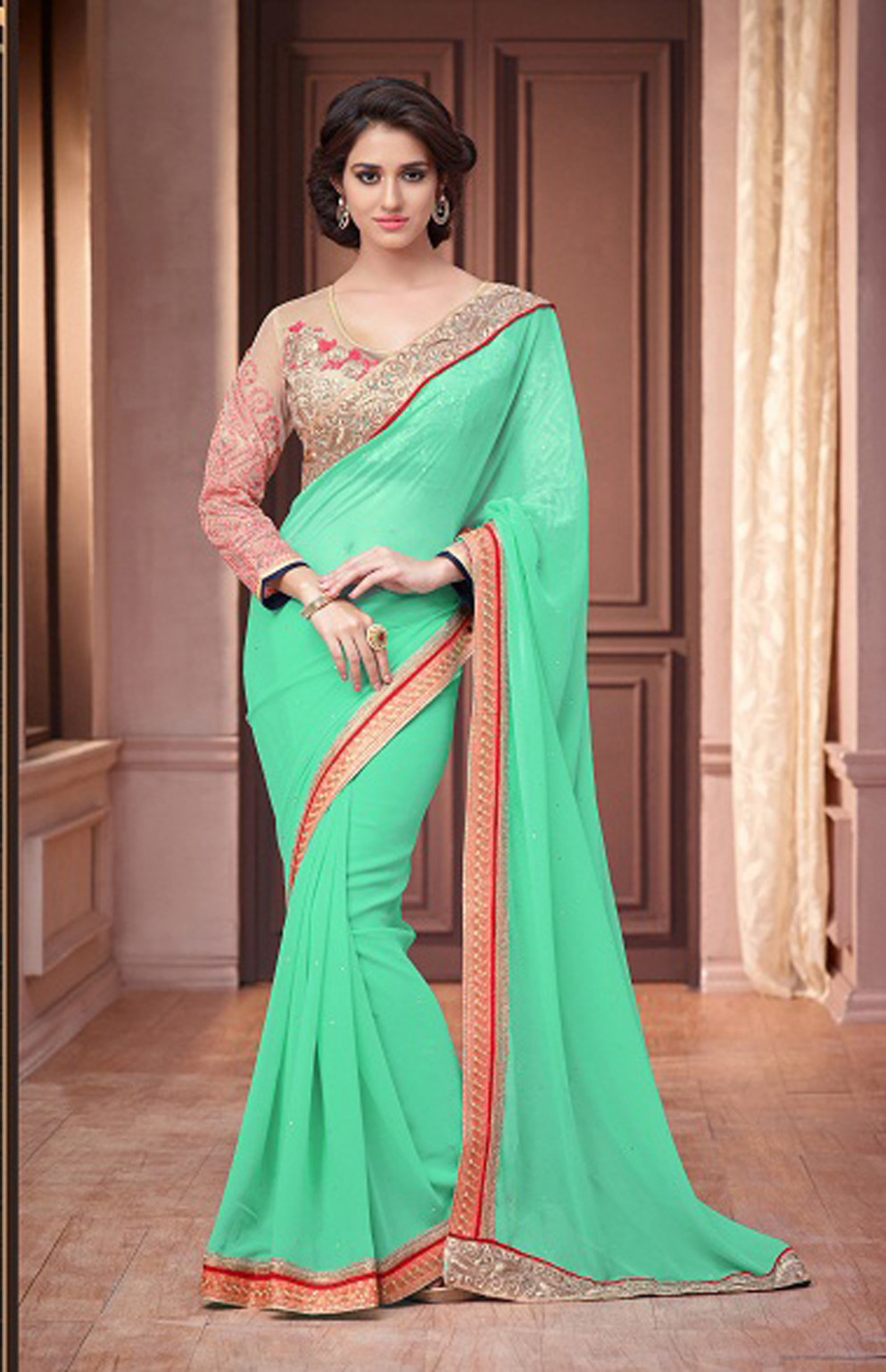 Mint Green Georgette Saree With Blouse 61568