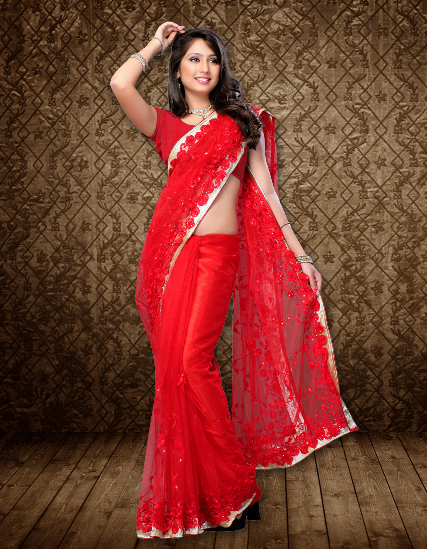Modern Festival Wear Fancy Red Saree – wholesalesarees