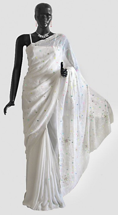 Multicolor and Silver Color Sequin Work on White Saree