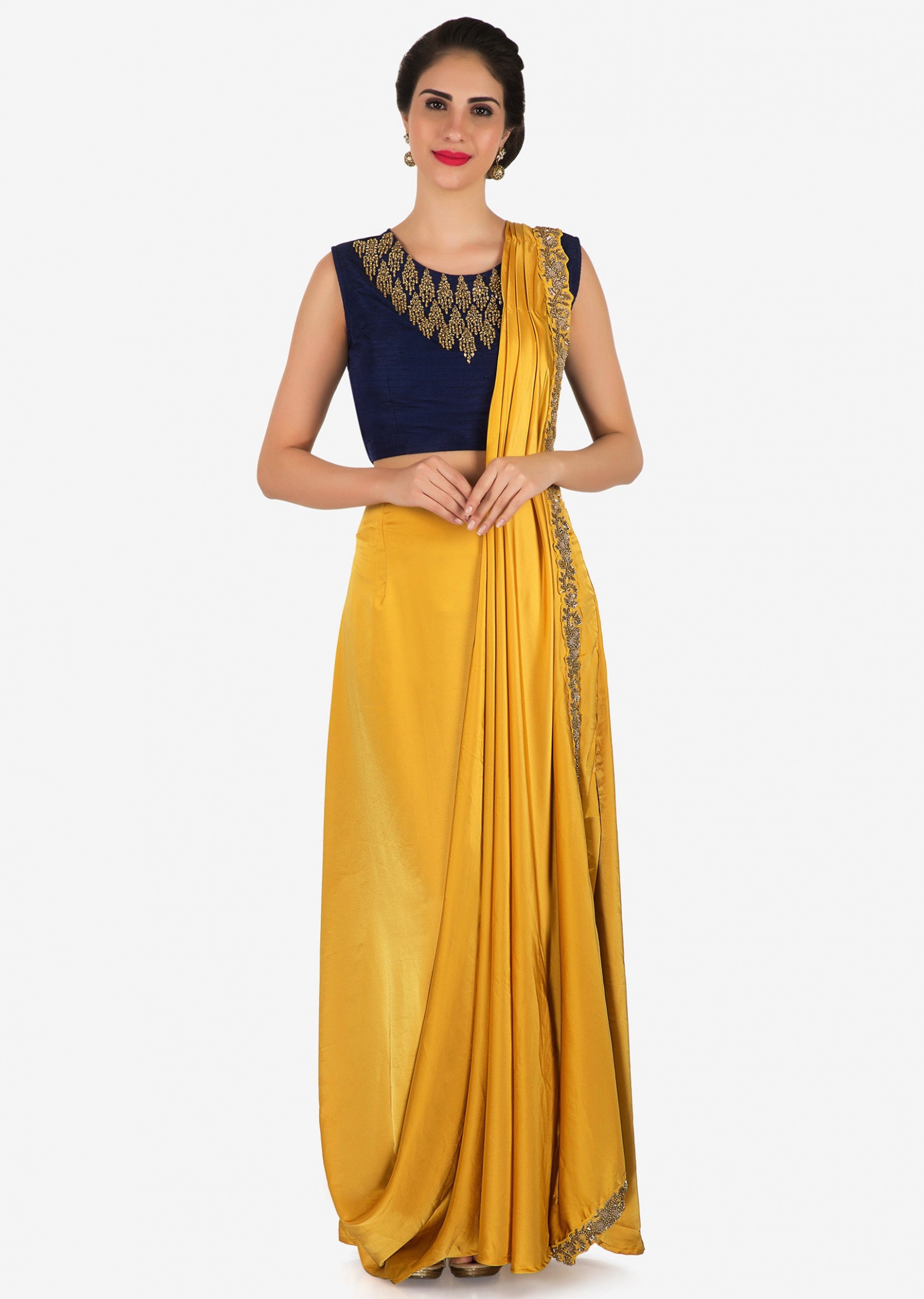Mustard pre stitched saree with navy blue raw silk blouse