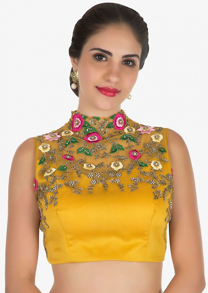 Mustard ready pleated saree with a high neck blouse  - high neck saree blouse