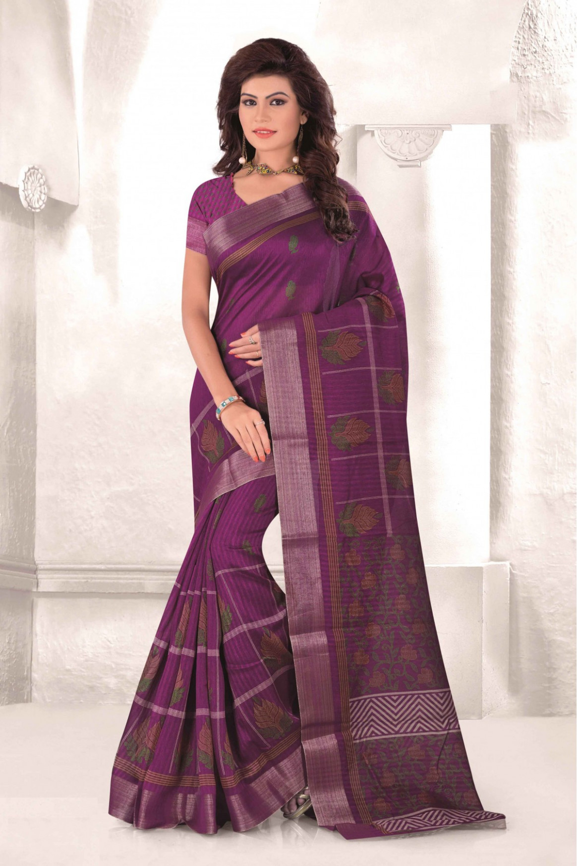 Mysore Udyog Casual Wear Saree in Magenta Colour