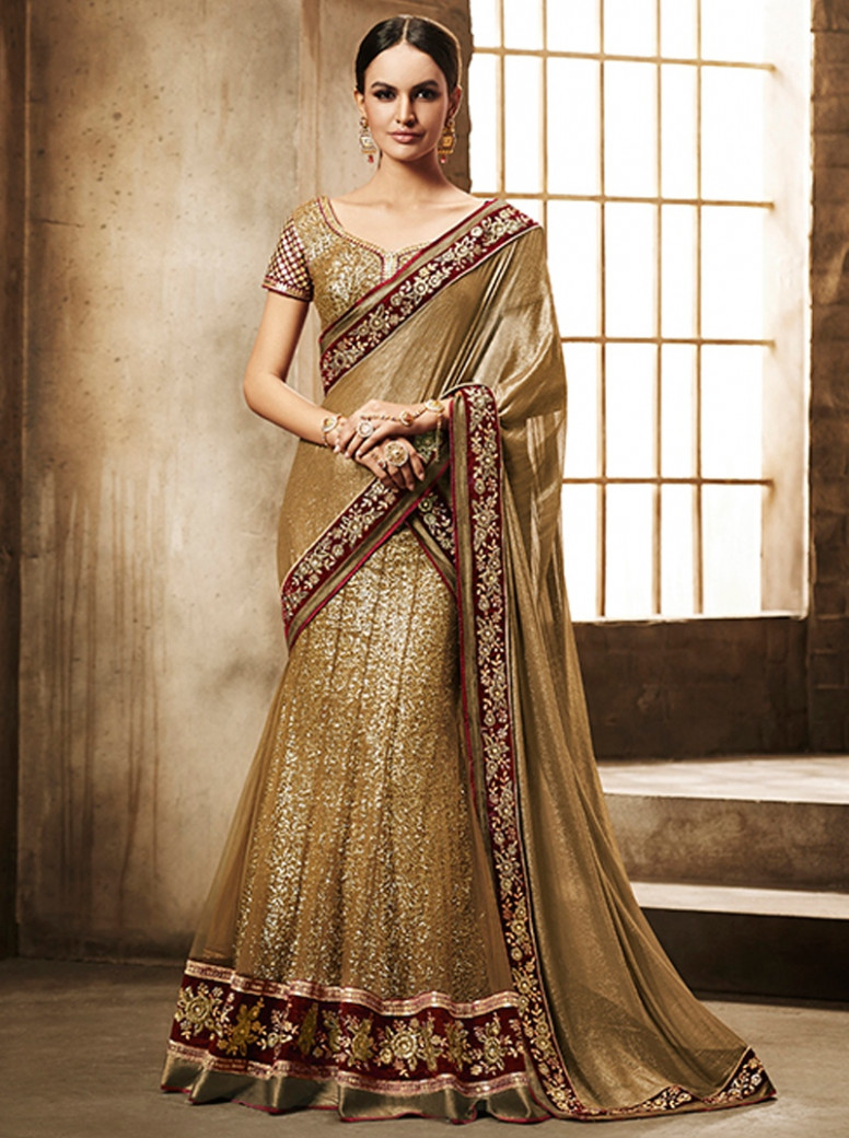 Nakkashi Golden Color lehenga Saree 5033