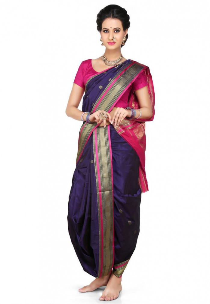 Nauvari Sarees - 9 Yards Saree From Maharashtra  Utsavpedia