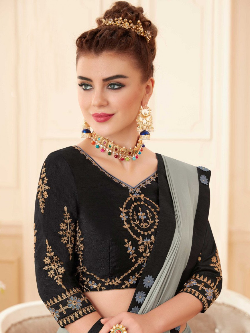 Navnya Silver Saree With Embroidered Blouse  Navnya-7857