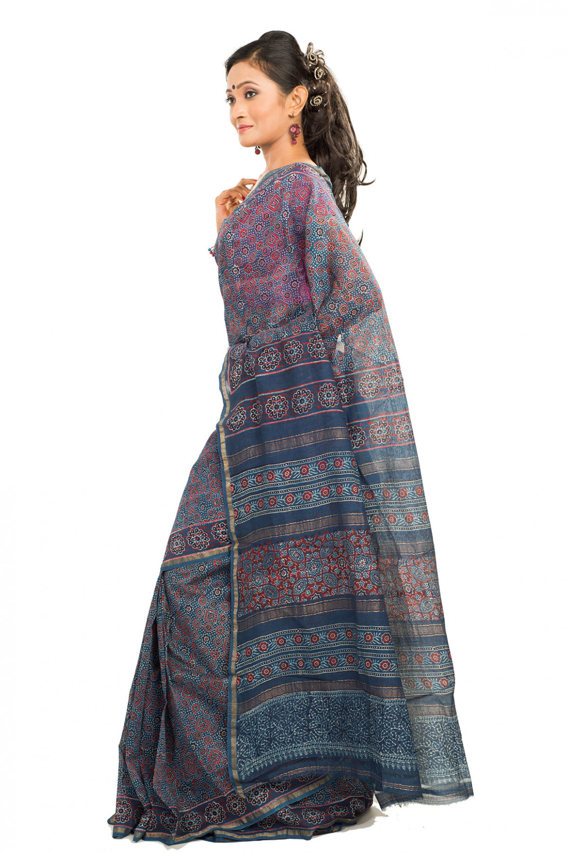Navy Blue Block Printed Maheshwari Saree  Buddha And Beyond