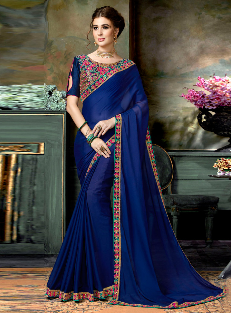 Navy Blue Chiffon Saree With Embroidered Blouse 121714