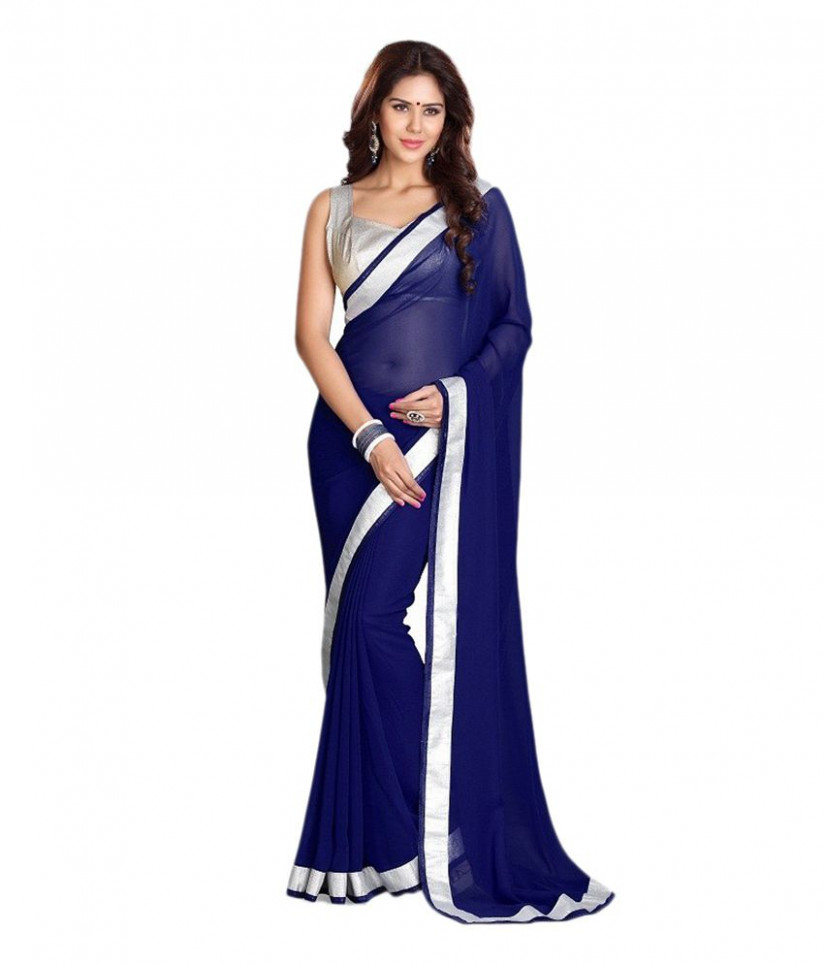 Navy Blue Saree - Buy Navy Blue Saree Online at Low Price