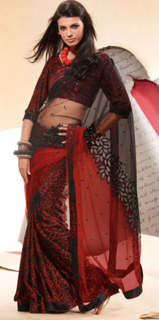 Net Black And Red Saree All About Fashion Pictures