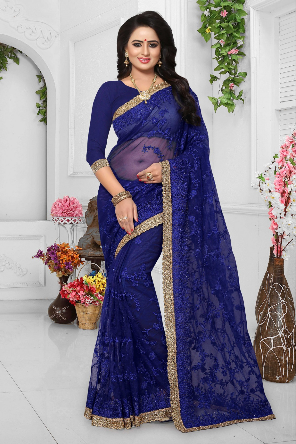 Net Embroidery Saree in Blue Colour