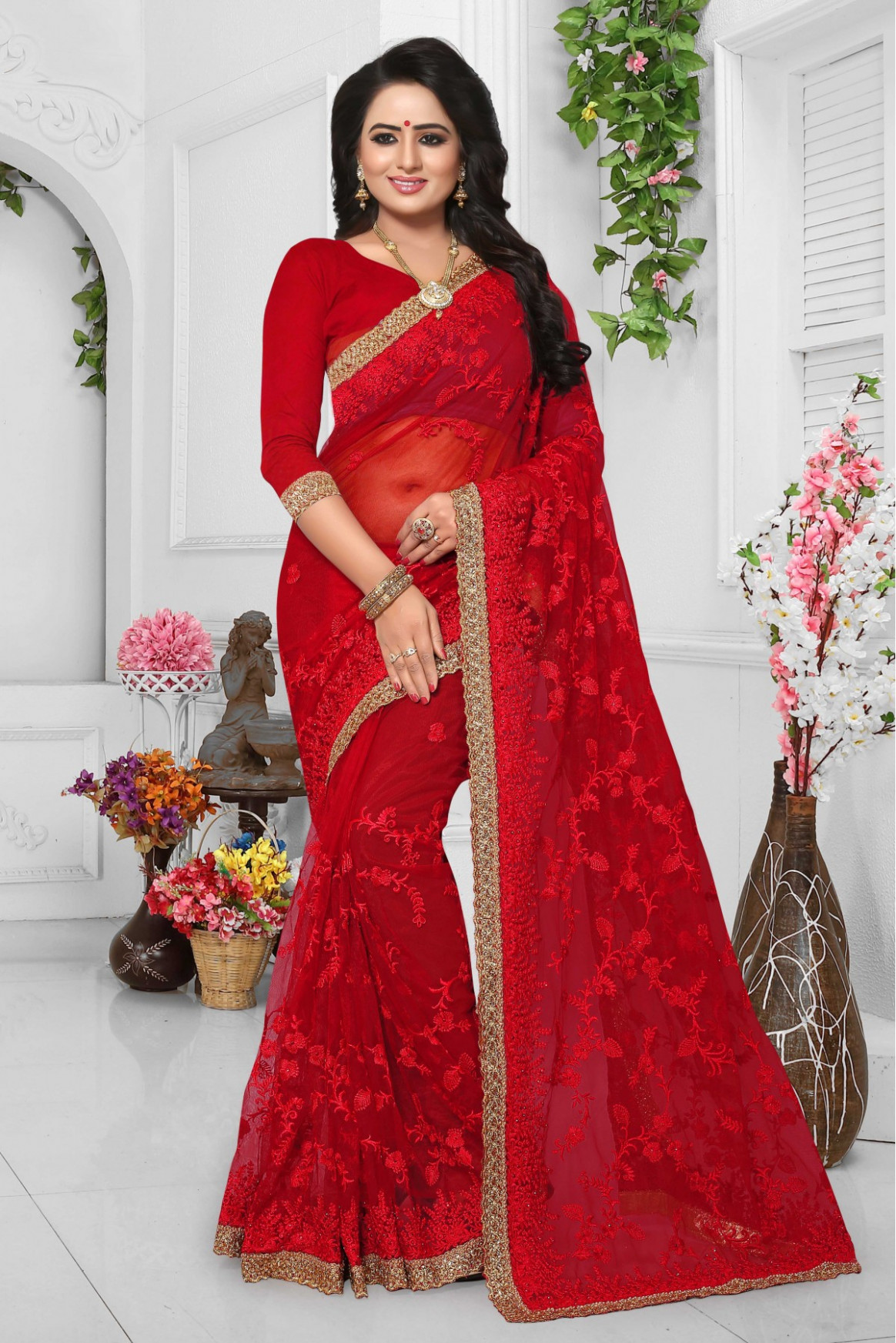 Net Embroidery Saree in Red Colour