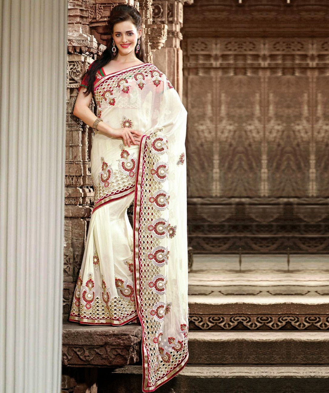 New Party Wear Saree Collection 2014-2015  Latest White