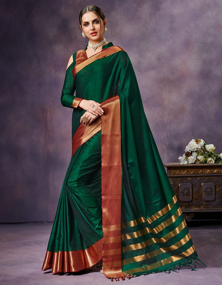 Nimmi Emerald Green Cotton Saree