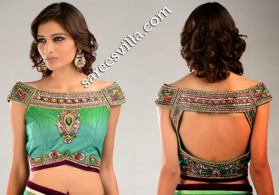 Off Shoulder Saree Blouse Designs  Sarees Villa