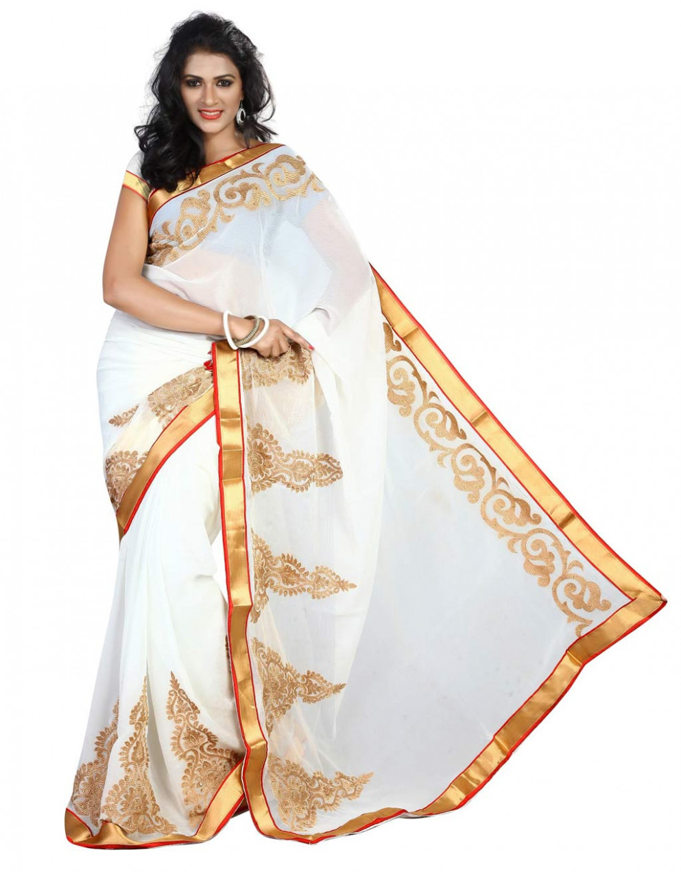 Off White Chiffon Saree With Blouse 58643