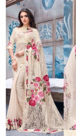 Off White Floral Saree