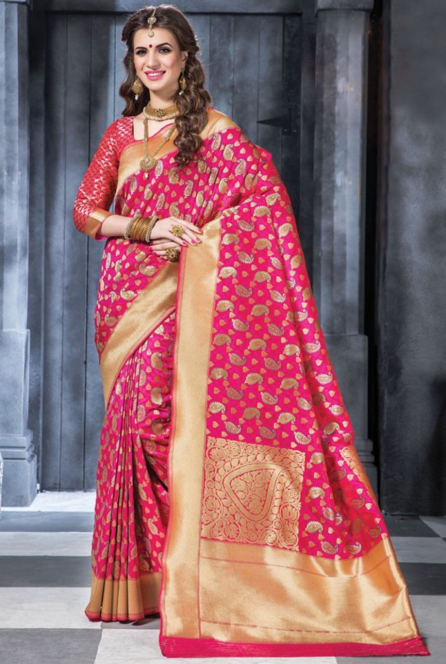 Online Shopping Megenta Banarasi Silk Saree With Blouse