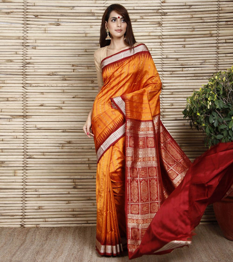 Orange Sambalpuri Silk Saree with Panelled Design  Saree