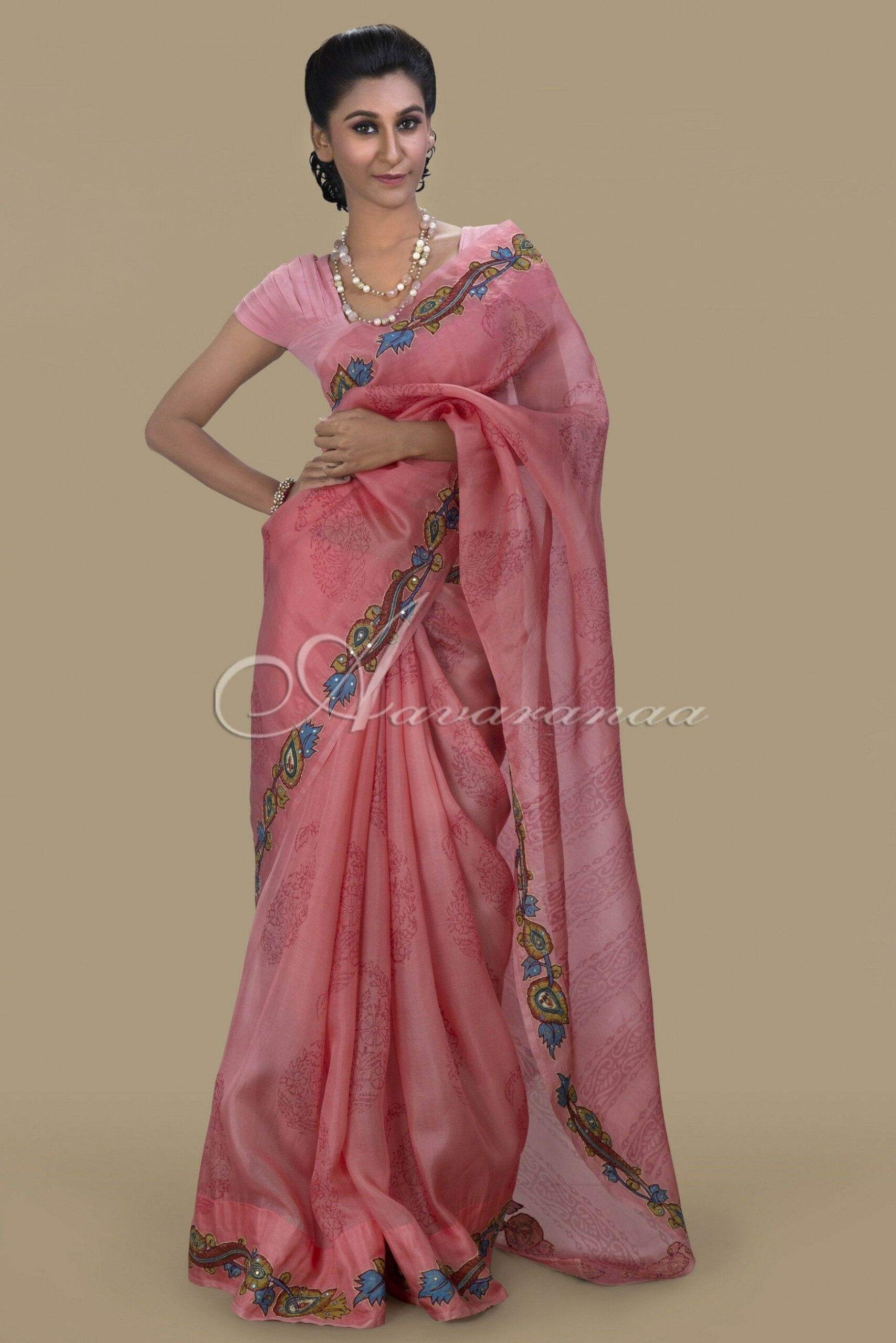 Organza silk saree in peach with kalamkari  Lehnga designs