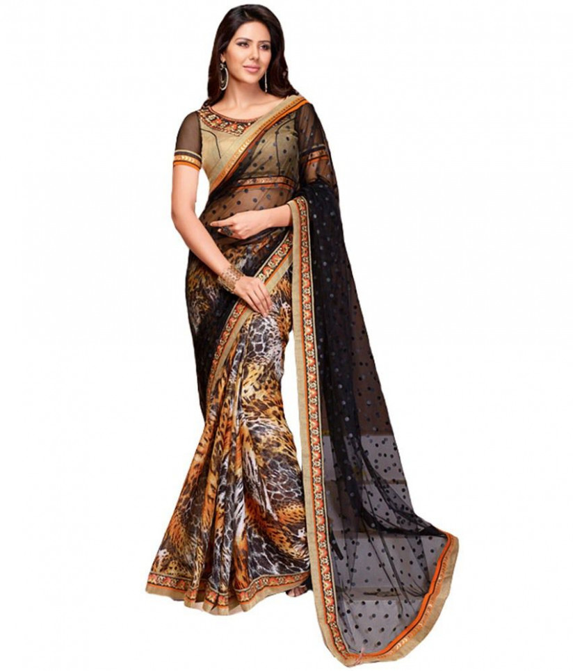 Paaneri Black Net Saree - Buy Paaneri Black Net Saree