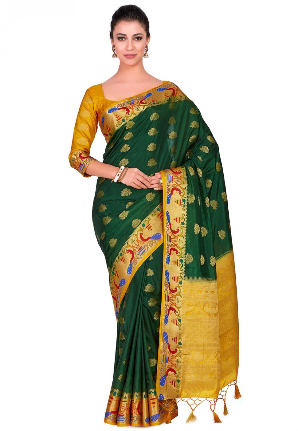Paithani Saree in Dark Green : SNGA639 - paithani saree