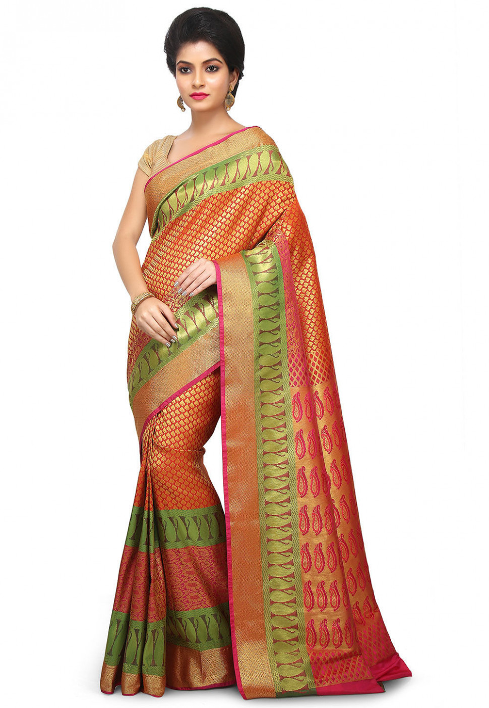 Paithani Saree in Orange and Golden : SASS16
