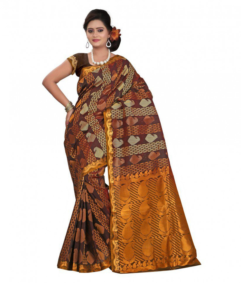 Parichay Brown Silk Sambalpuri Saree - Buy Parichay Brown