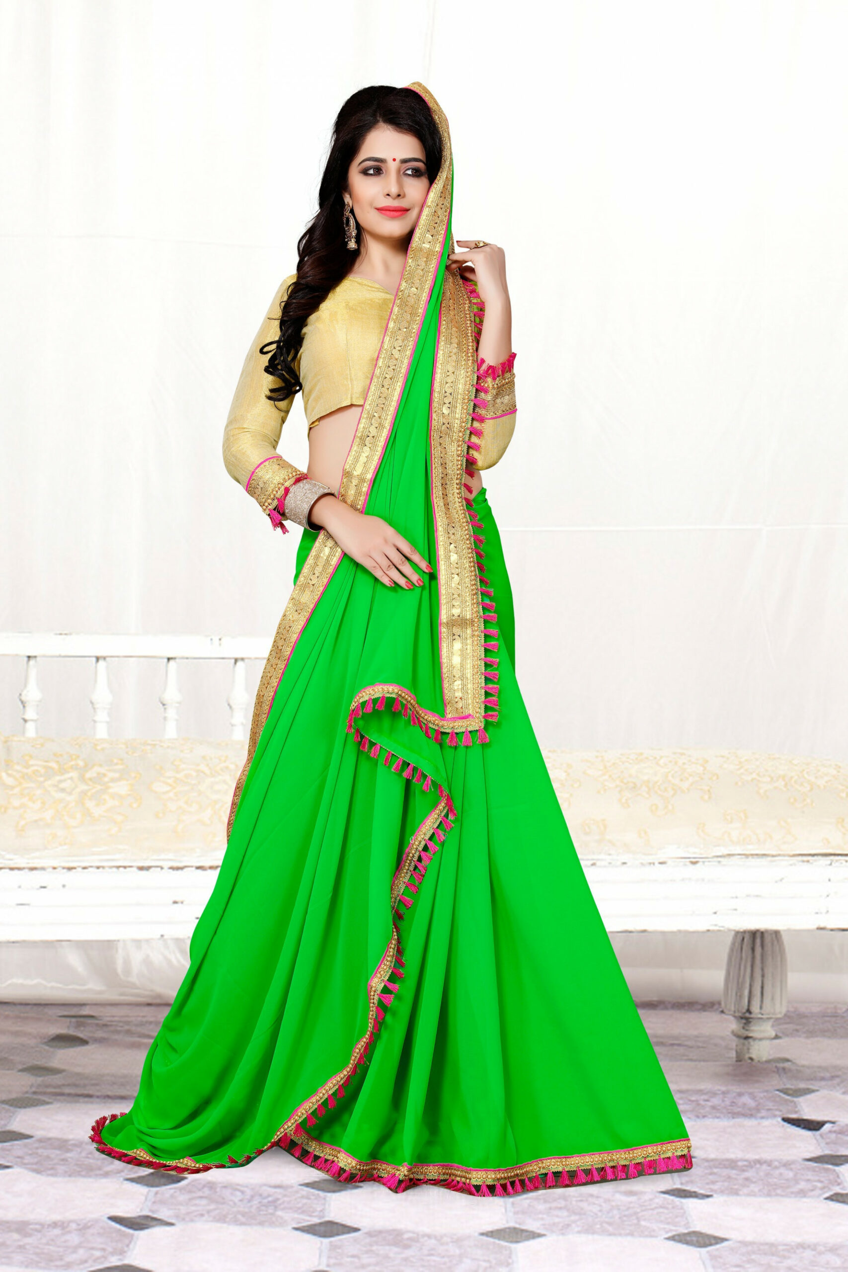 Parrot Green Color Georgette Saree  Zinnga
