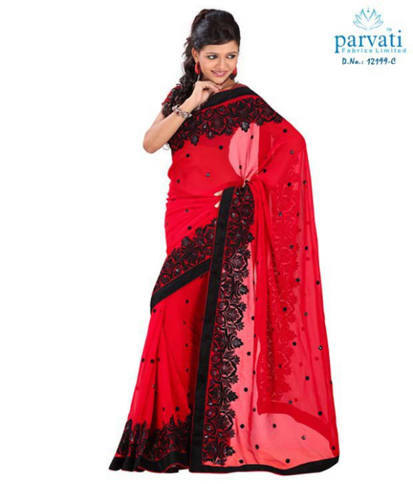 Parvati Sarees Red and black Chiffon Embroidered Saree