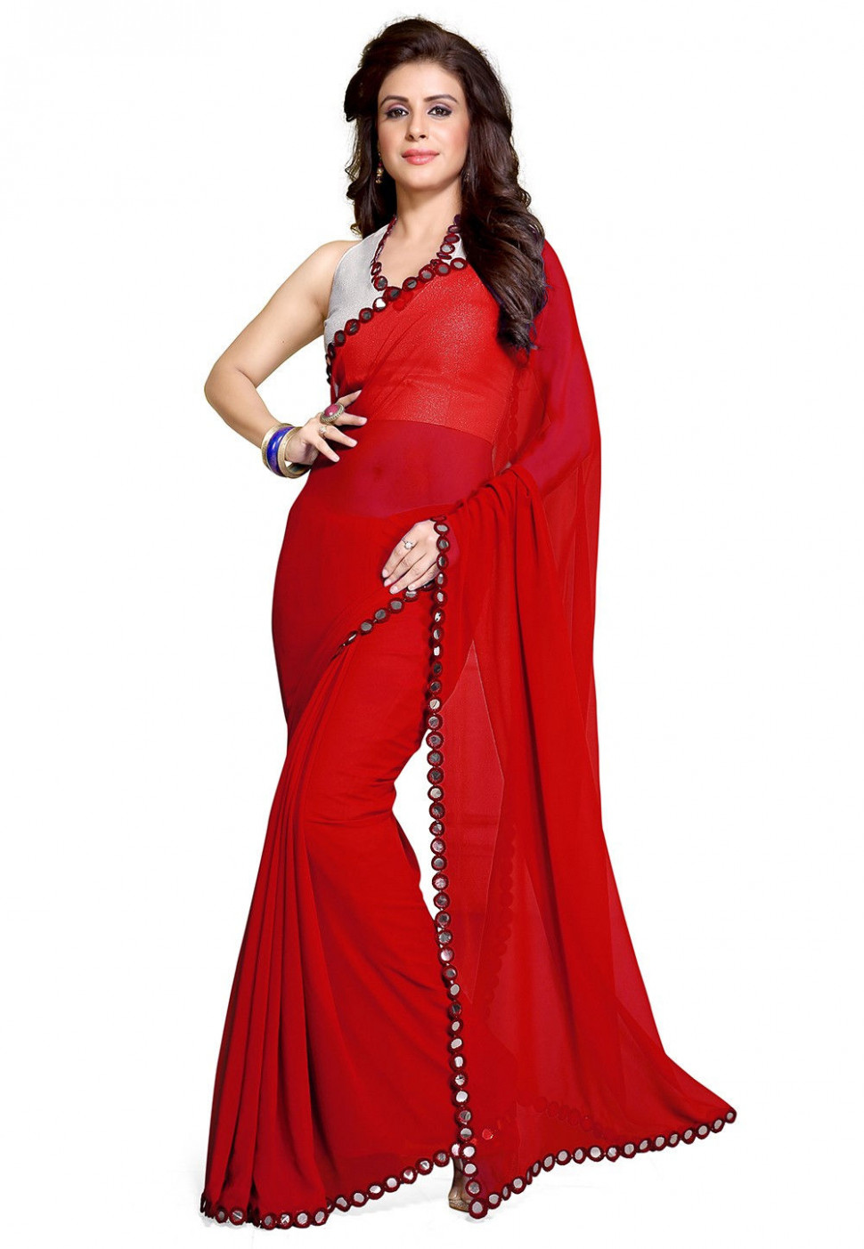 Patch Border Georgette Saree in Red : SBH1354