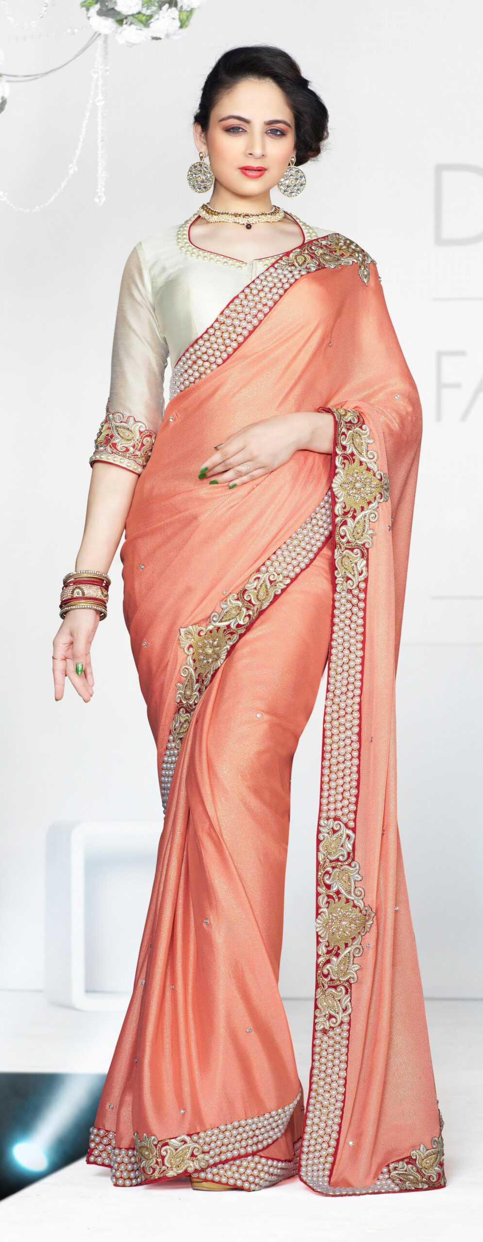 Peach Color Designer Party wear Brocket Saree-Online Shopping-