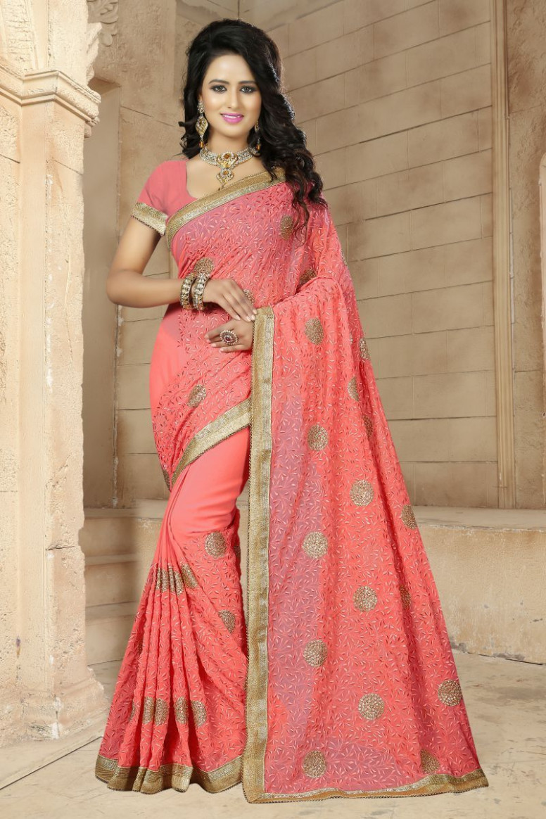 Peach Color Georgette Saree  Zinnga